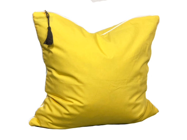 Aveira Throw Pillow in Yellow Shirtcloth with White Pipe – 20"