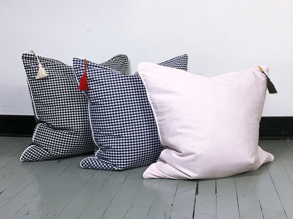 Gingham Throw Pillow in Black with White Pipe – 26"
