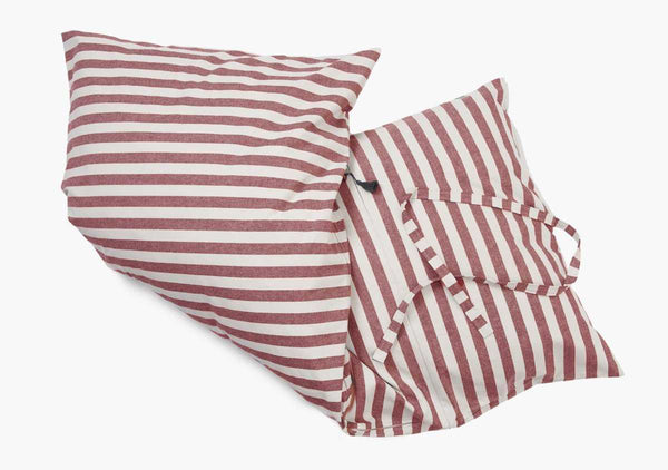 Sur La Mer Throwbed In Red Wide Stripe - Folded | Hedgehouse