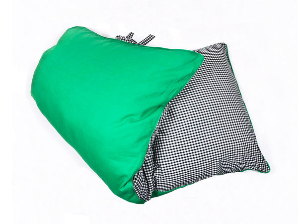 Kelly Green Linen and Black Cotton Gingham Throwbed