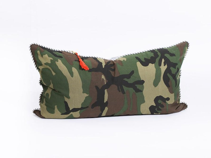 Lumbar Pillow in Camo and Toulouse Blue