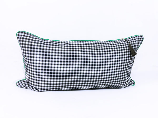 "Kelly Green Linen and Black Cotton Gingham  - 14"" x 26"""