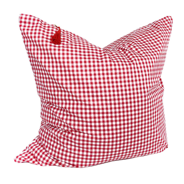 "Gingham Throw Pillows in Red with White Pipe – 26"" x 26"""