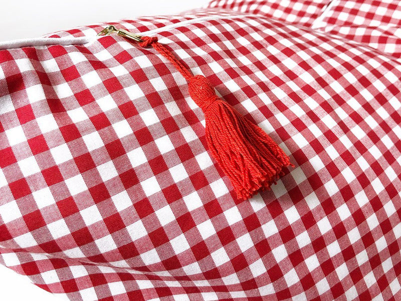Throw Pillow in Gingham with Pipe