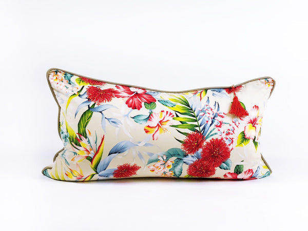Lumbar Pillow in Hawaiian Floral and Seersucker