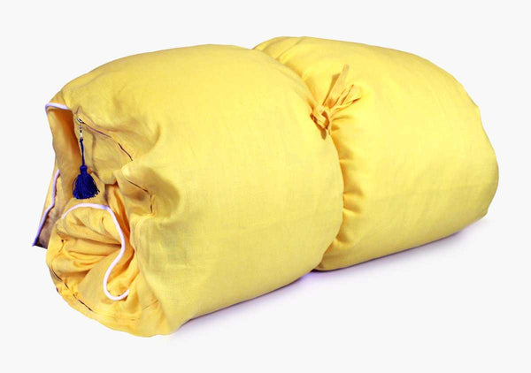 Solid Throwbed In Yellow Linen with White Pipe | Hedgehouse
