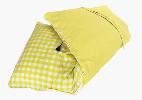 Fred Darling Gingham Throwbed in Lemon (with Lemon) | Hedgehouse