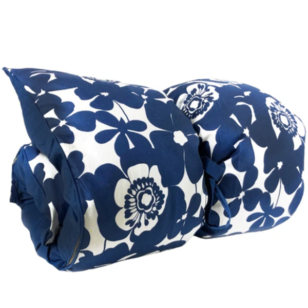 Bold Floral in Deep Blue with Solid Back and Pipe