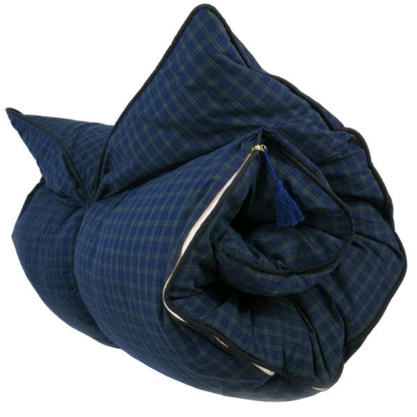 Throwbed In Navy & Hunter Plaid Shirtcloth