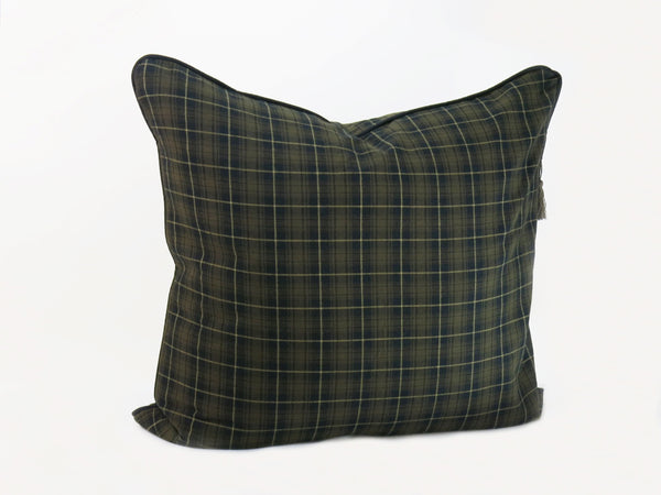 "Plaid Flannel 26"" x 26"" Pillow In Brown & Black 