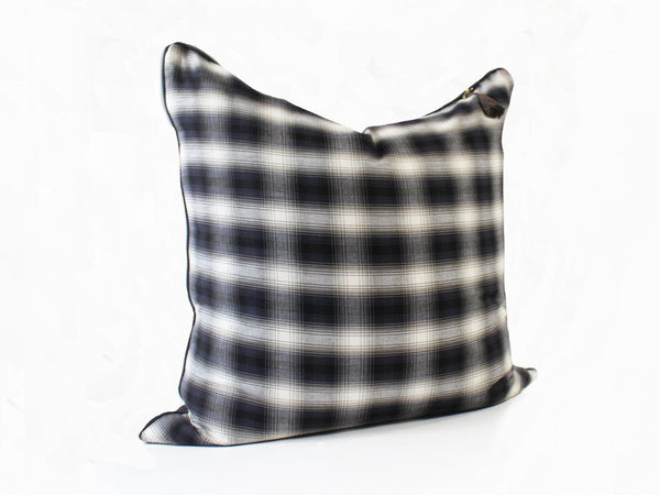 "26"" x 26"" Throw Pillow in Charcoal and Cream Plaid Flannel Cotton with Solid Charcoal Twill Back"