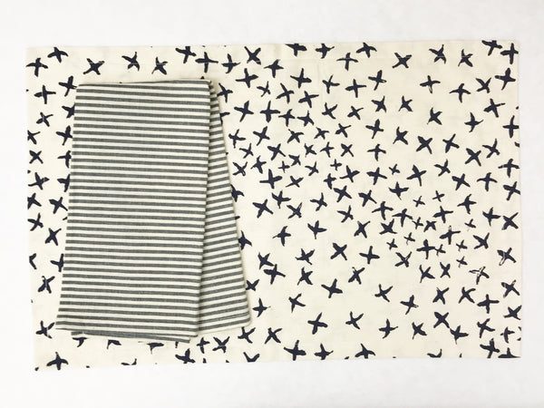 Normandy II Crosses Placemat in Indigo | Hedgehouse