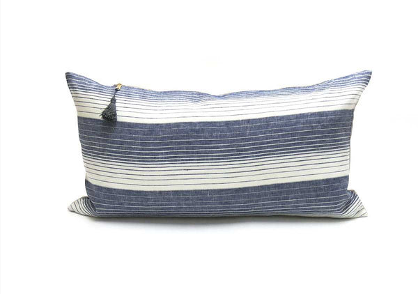 "Cortina Pillow In Blue - 14"" x 26"" 