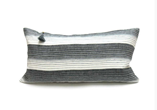 "Cortina Pillow In Black - 14"" x 26"""