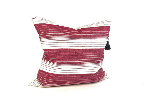 "Cortina Pillow In Cranberry - 17"" x 17"""