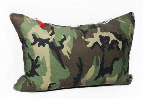 Headboard Cushion in Camo and Black & White Gingham