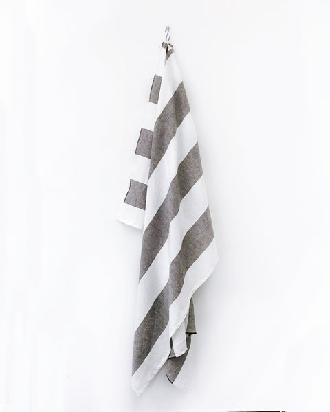 Harbour Island Chocolate Linen Beach Towel