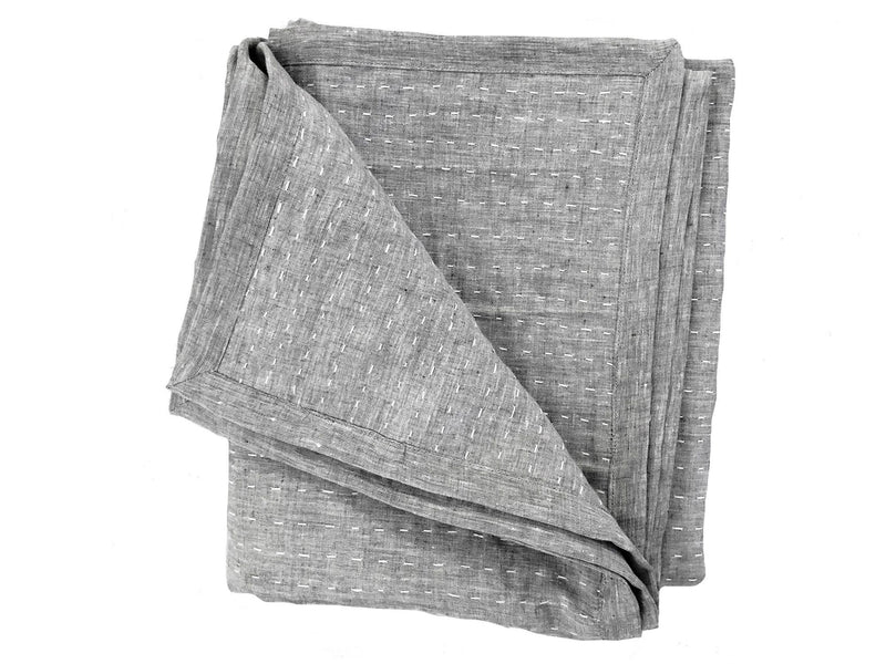 Kantha Quilted Throw Blanket in Solid Charcoal