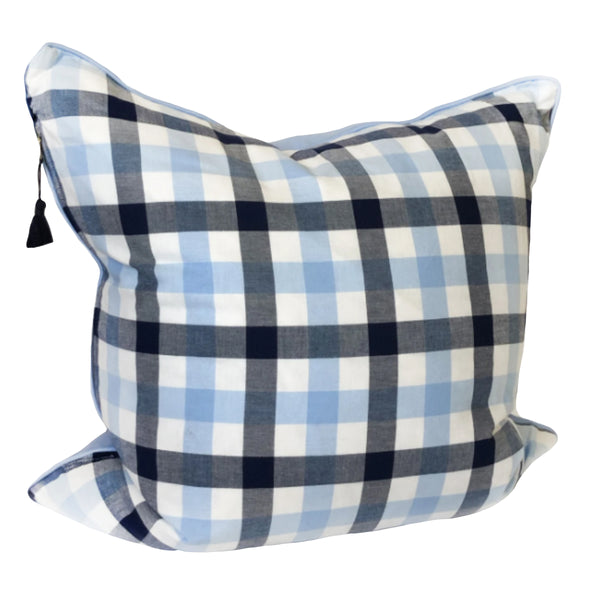 "26"" x 26"" Throw Pillow in Navy and Light Blue Plaid Flannel"