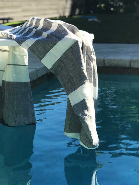 Majorca Charcoal Linen Beach Towel | Hedgehouse