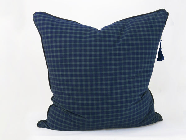 "Plaid Cotton 26"" x 26"" Pillow In Navy & Hunter 