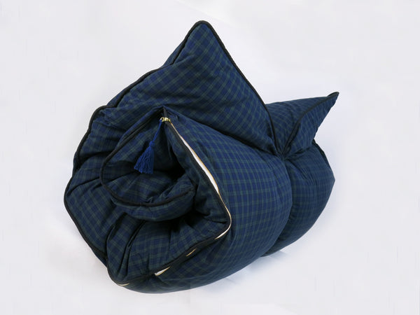 Plaid Cotton Throwbed In Navy & Hunter | hedgehouseusa