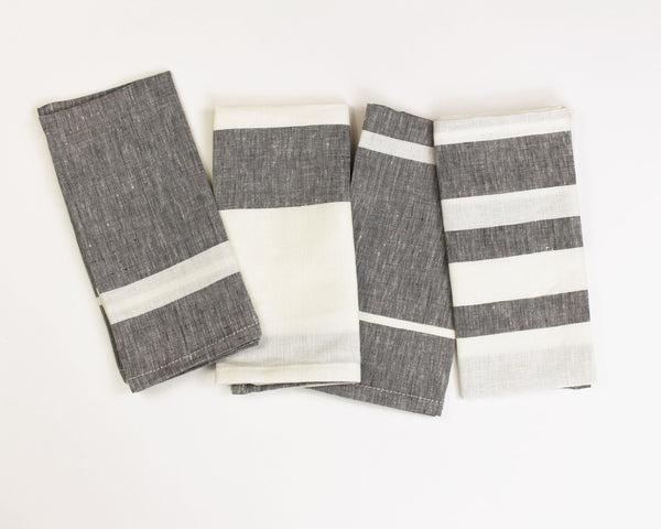 Majorca Napkin in Charcoal (Set of 4) | Hedgehouse