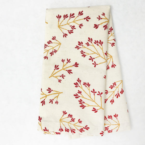 Normandy II Branches Napkin in Garnet & Gold | Hedgehouse