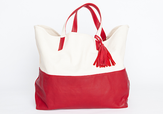 The Weekender Canvas & Leather Tote in Oxblood