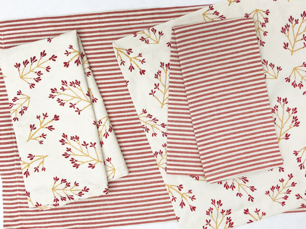 Normandy II Branches Placemat in Garnet & Gold | Hedgehouse