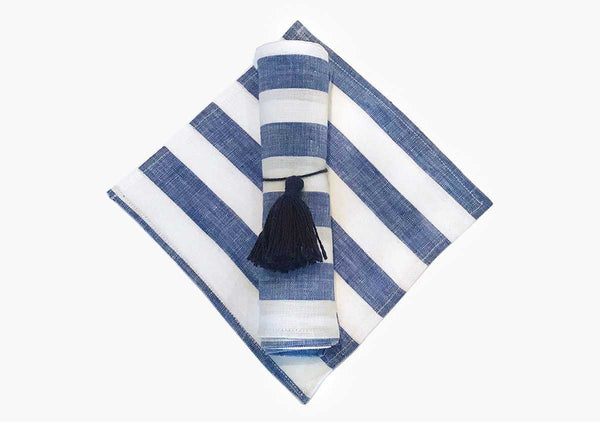 Sur La Mer Cocktail Napkins in Blue (Set of 6) | Hedgehouse