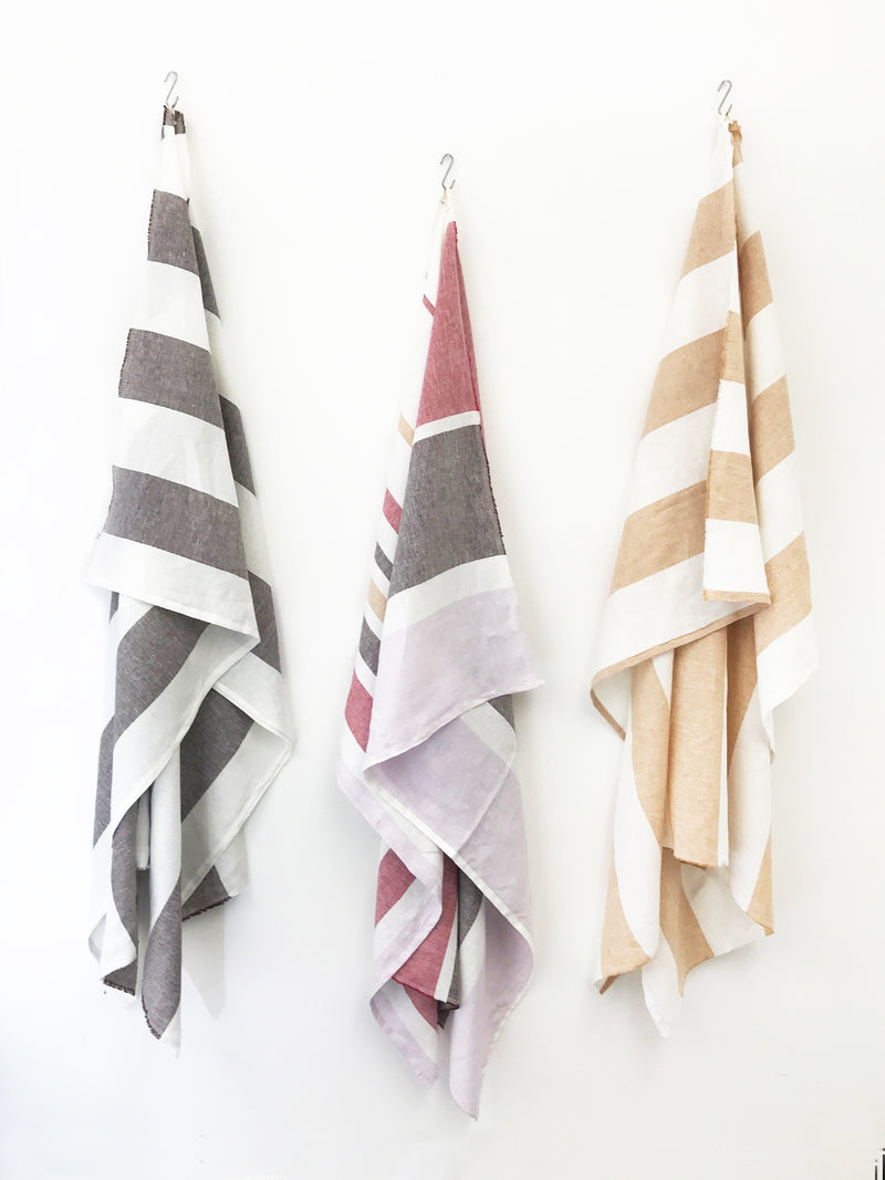 Majorca Multi Color Linen Beach Towel | Hedgehouse