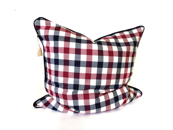 "Plaid Flannel & Twill 26"" x 26"" Pillow In Navy and Red 