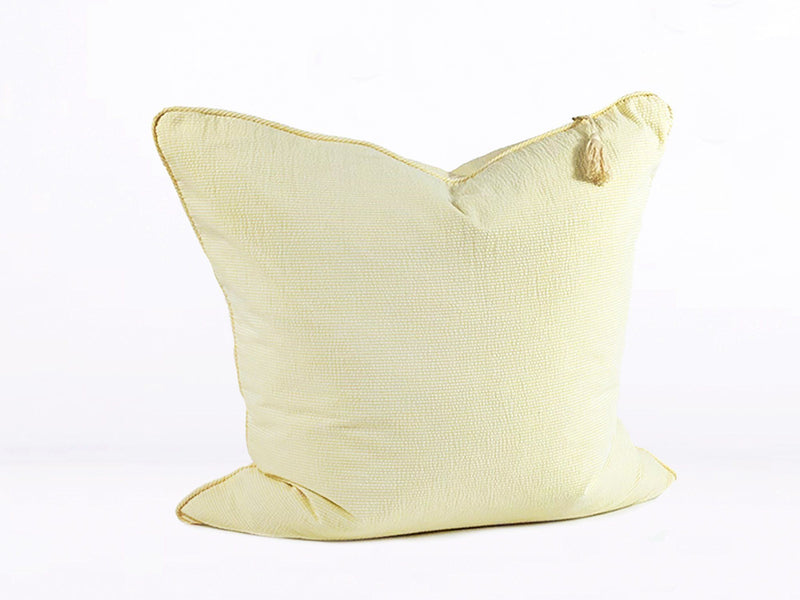 Throw Pillow in Yellow Seersucker