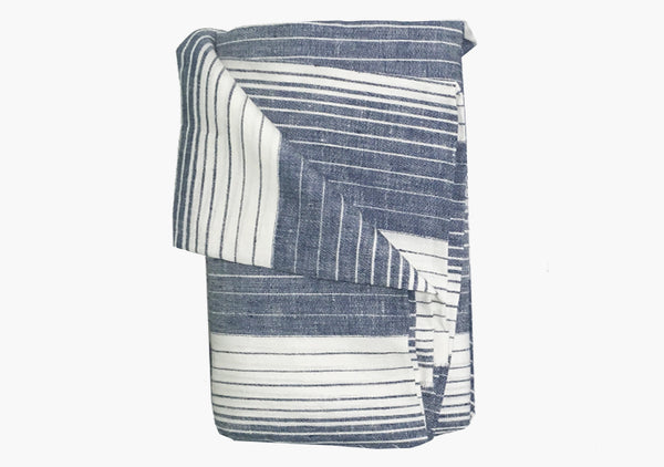 Cortina Blue Linen Beach Towel
