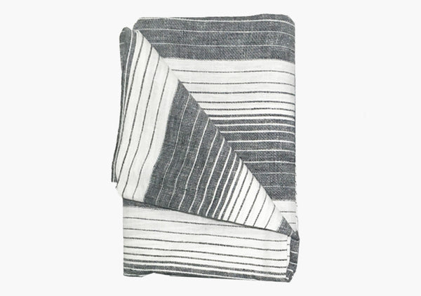 Cortina Black Linen Beach Towel | Hedgehouse