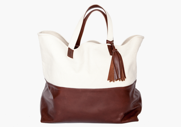 The Weekender Canvas & Leather Tote in Chocolate