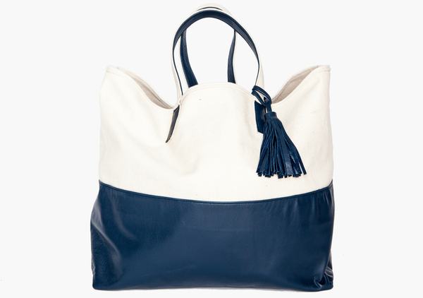 The Weekender Canvas & Leather Tote in Navy