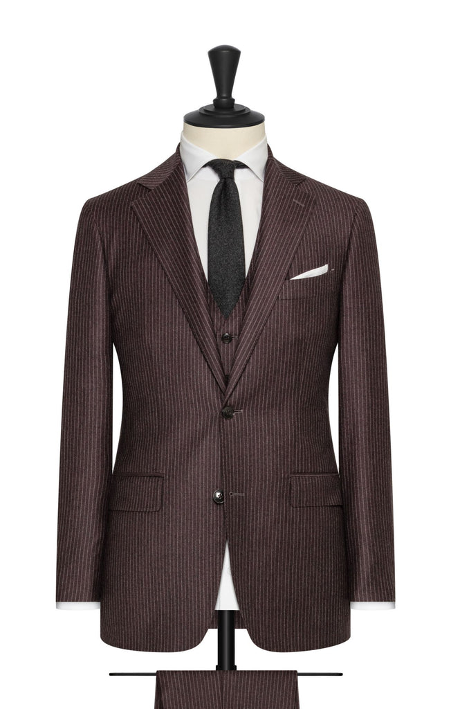 raisin brushed s110 wool with white pinstripe