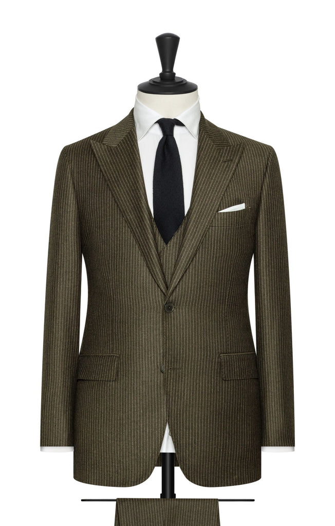 sage green brushed s110 wool with white pinstripe