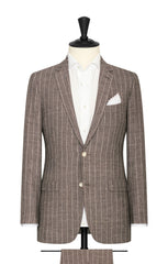 brown white linen wool silk with technical pinstripes Inspiration
