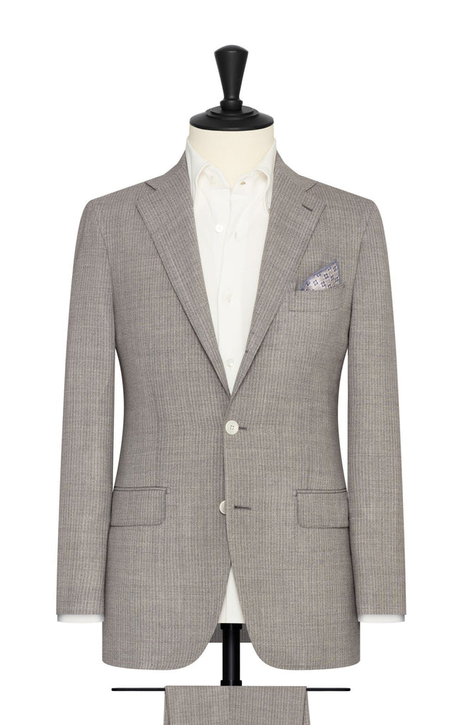 Angelico light grey wool open weave with fine pinstripes