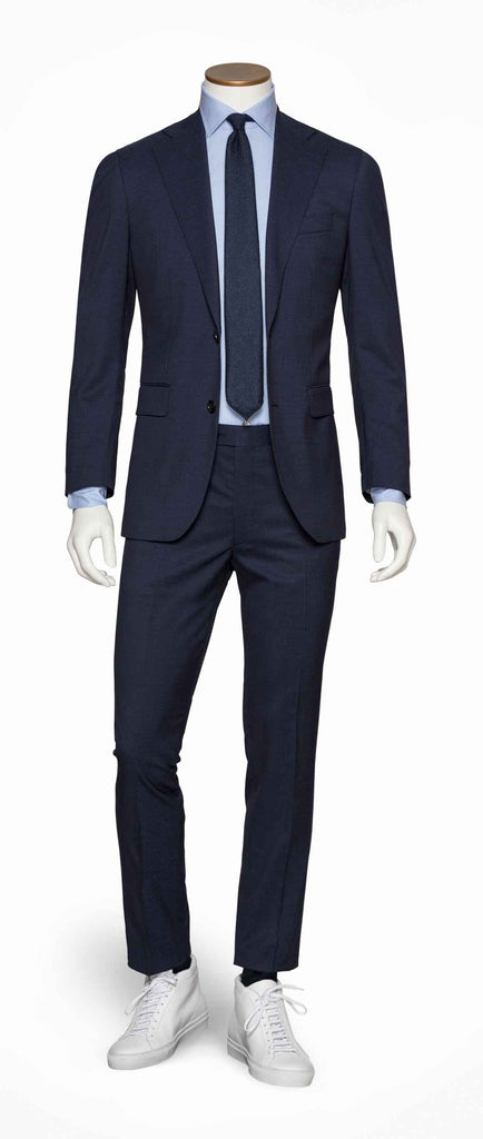 navy blue stretch wool modern micro weave