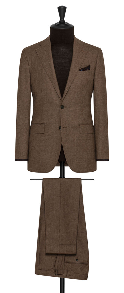 Loro Piana Mid Brown S170 Wool & Cashmere with Glencheck
