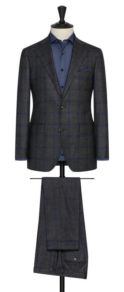 Loro Piana zelander dark grey wool with blue windowpane