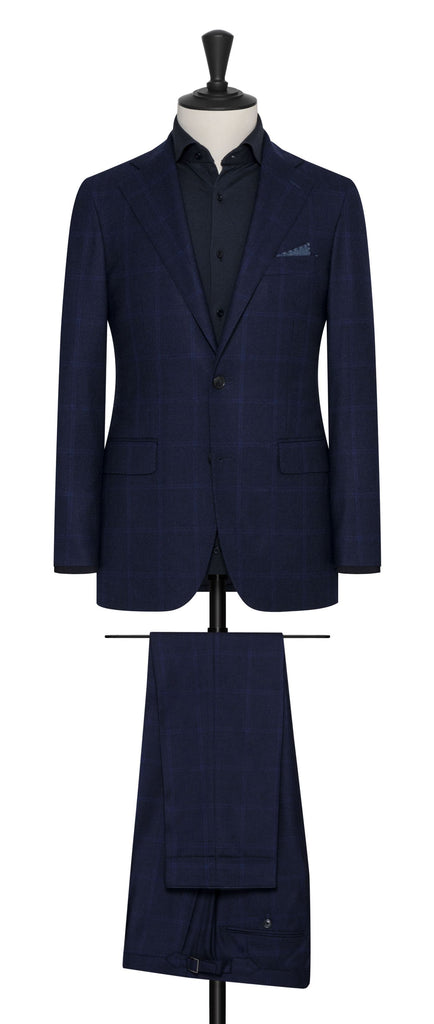 Loro Piana cashmere wish midnight blue wool cashmere with subtle windowpane