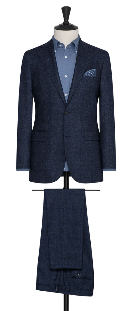 Loro Piana dream tweed mixed blue wool with speckled glencheck