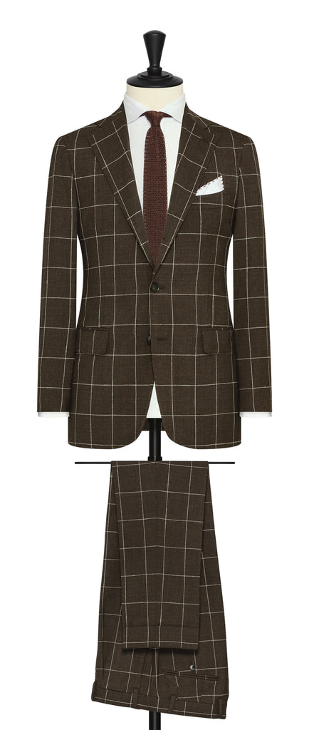 Drago chocolate brown s130 wool with white bouclé windowpane