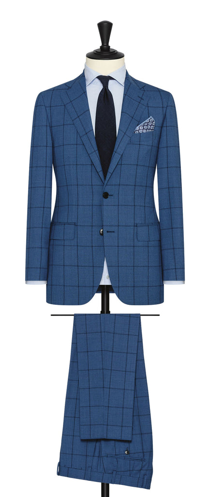 Drago blue mélange s130 wool with windowpane