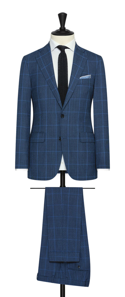 Drago bright blue s130 wool with light blue windowpane